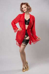 Sheer robe with lace -  black or red