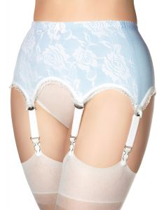 Light blue garter belt with white lace