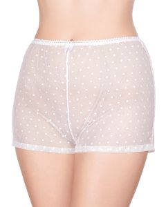White polka dot transparent shorts